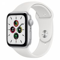 Apple Watch SE 44mm Silver Aluminum Case with White Sport Band