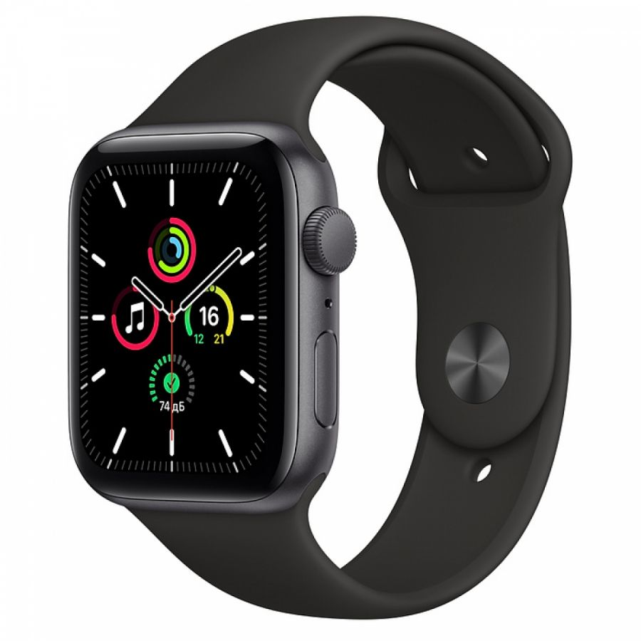 Apple Watch SE 44mm Space Gray Aluminum Case with Black Sport Band