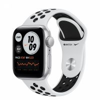 Apple Watch SE 40mm Silver Aluminum Case with Nike White Sport Band