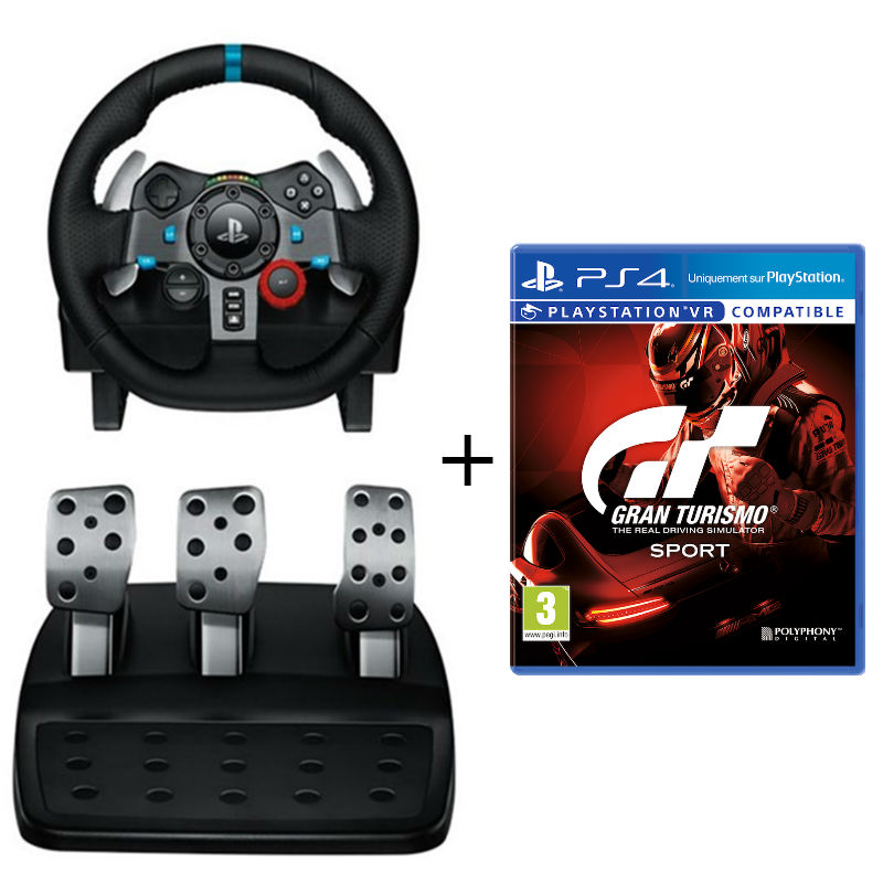 Игровой руль Logitech G29 Driving Force (PS4,PS3,PC) + игра Gran Turismo Sport (PS4)