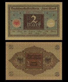Германия - 2 марки, 1920 (коричневая). UNC. Мультилот
