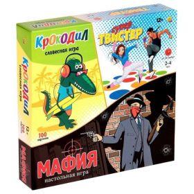 Набор настольных игр Рыжий кот Супер-твистер + крокодил + мафия ИР-5474