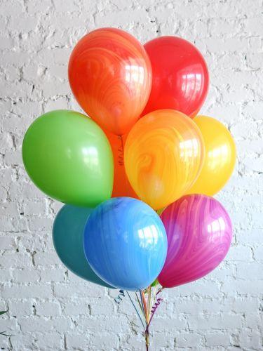 10 гелиевых шаров микс