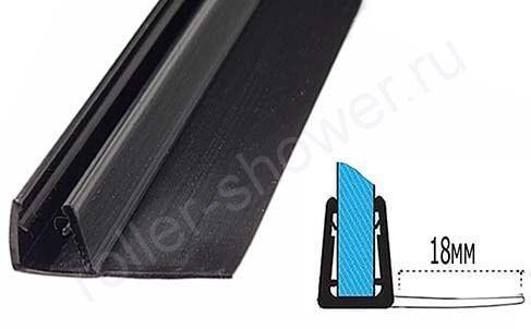 Уплотнитель для душевых кабин черный. F-образный, для толщины стекла (6,8мм)  Длина 2,2 метра