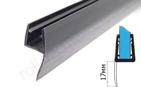 Уплотнитель для душевых кабин черный. Ч-образный, для толщины стекла (6,8мм)  Длина 2,2 метра