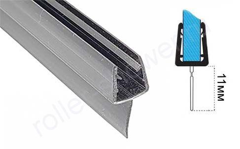 Уплотнитель для душевых кабин черный. Т-образный, для толщины стекла (6,8мм)  Длина 2 метра