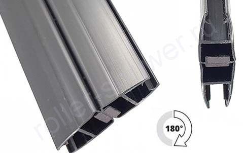 Уплотнитель для душевых кабин магнитный, черный, для толщины стекла (6,8мм)  Длина 2,2 метра. Угол 180 градусов
