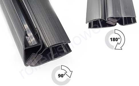 Уплотнитель для душевых кабин магнитный, черный, для толщины стекла (6,8мм)  Длина 2,2 метра Угол 90 или 180 градусов