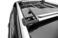 Багажник на рейлинги Hyundai Santa Fe II, 2007-2012, Lux Hunter, серебристый, крыловидные аэродуги