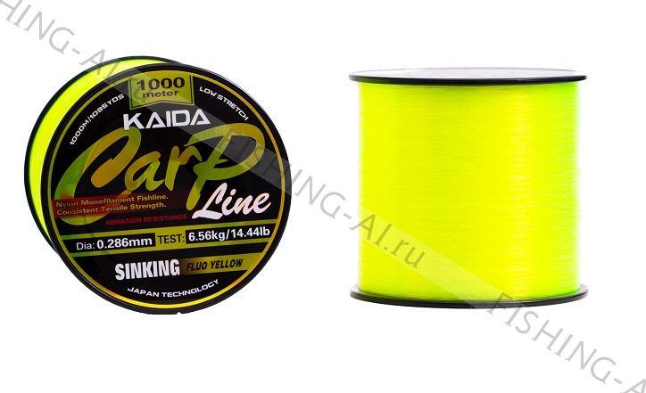 "Леска Kaida ""Carp Line"" Sinking Fluo Yellow 1000 м 0.405 мм"