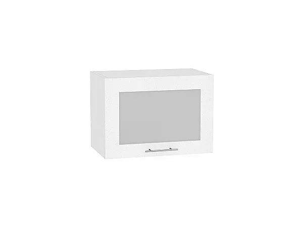 Шкаф верхний Валерия ВГ500 со стеклом (белый металлик)