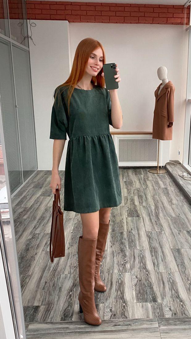 s3061 Платье вельветовое в малахитовом зелёном