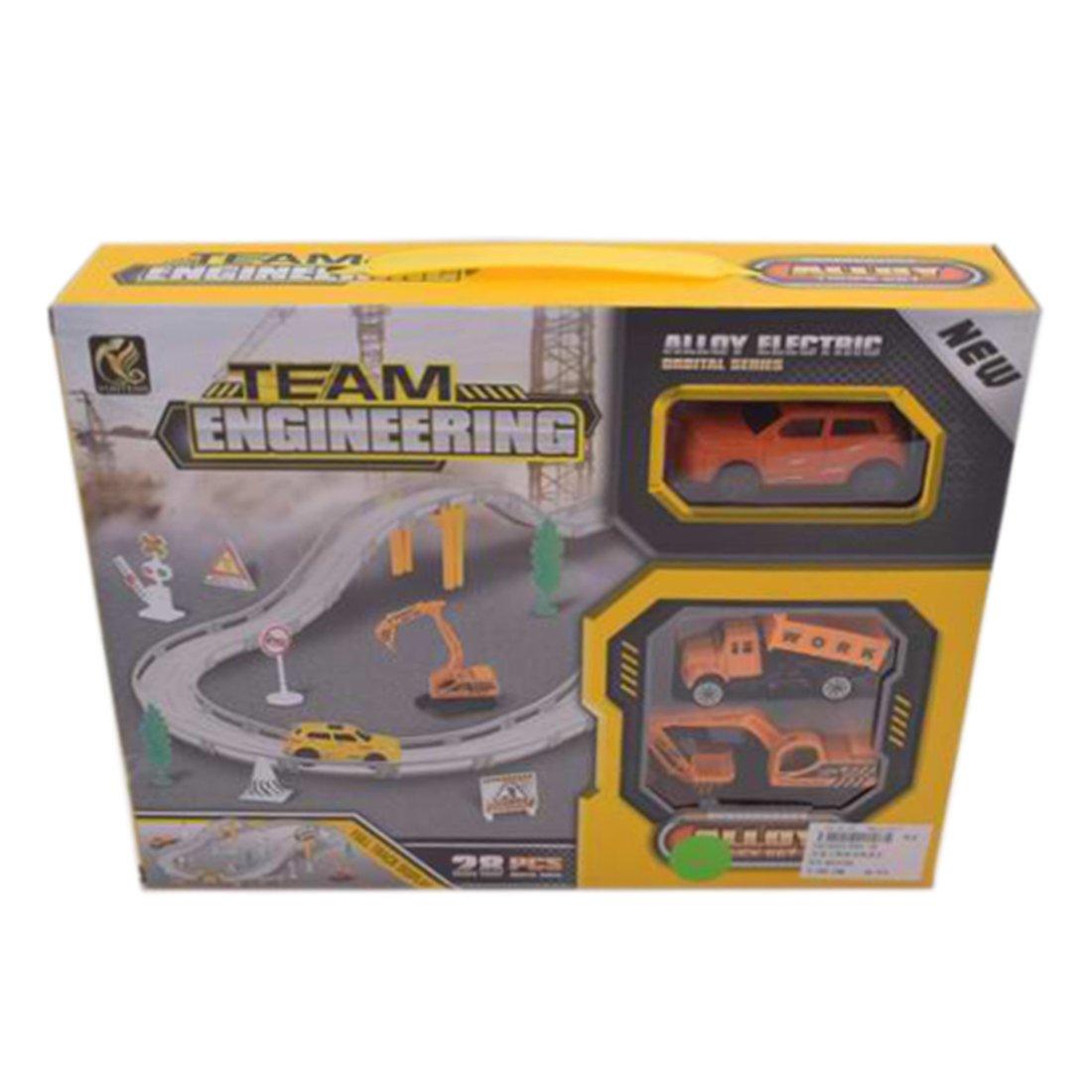 Игр.набор Автотрек, в комплекте: деталей 28шт, транспорт металл.2шт, машина эл., эл.пит.АА*1шт.не вх.в комплект, коробка