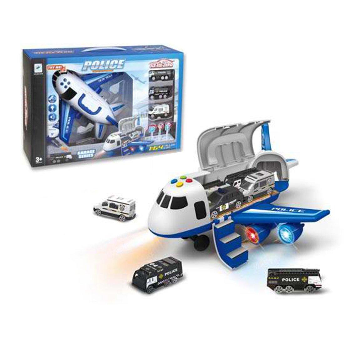 Игр.набор Самолет, свет, звук, в комплекте: самолет инерц., машины металл. 3шт., дорожные знаки 7шт., эл.пит.АА*3шт.не вх.в комплект, коробка