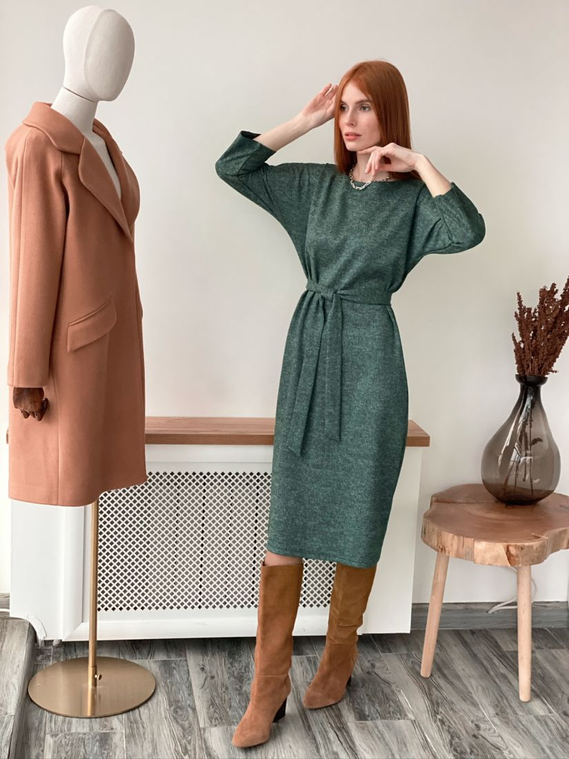 s3078 Платье вязаное изумрудное