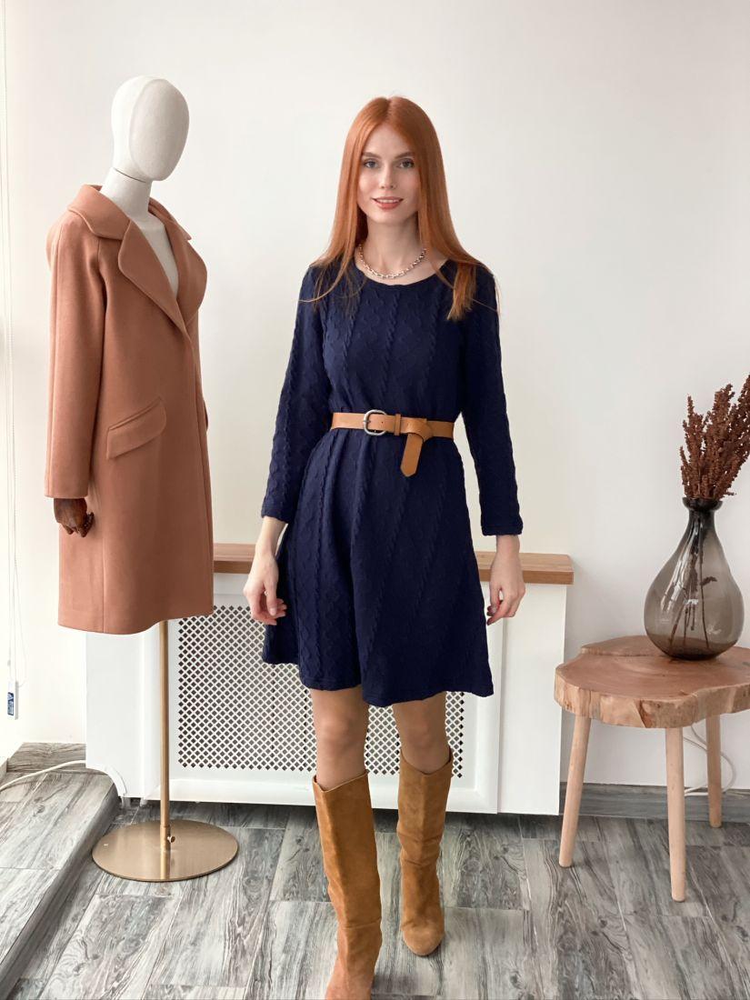 s3079 Платье вязаное тёмно-синее