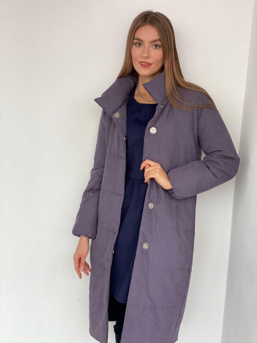 s3082 Пальто утеплённое стёганое Premium серо-лиловое