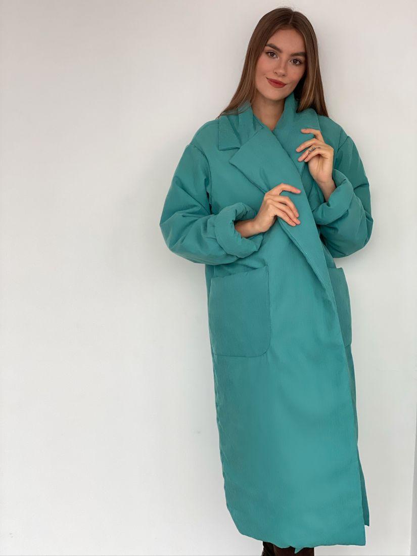 s3083 Пальто утеплённое в бирюзовом цвете