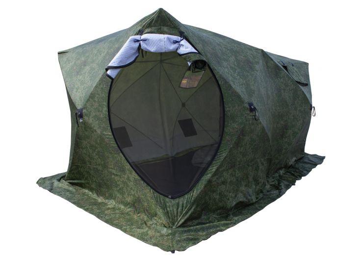 Палатка зимняя Стэк КУБ 3 трехслойная ДУБЛЬ Т 420*220*205 камуфляж