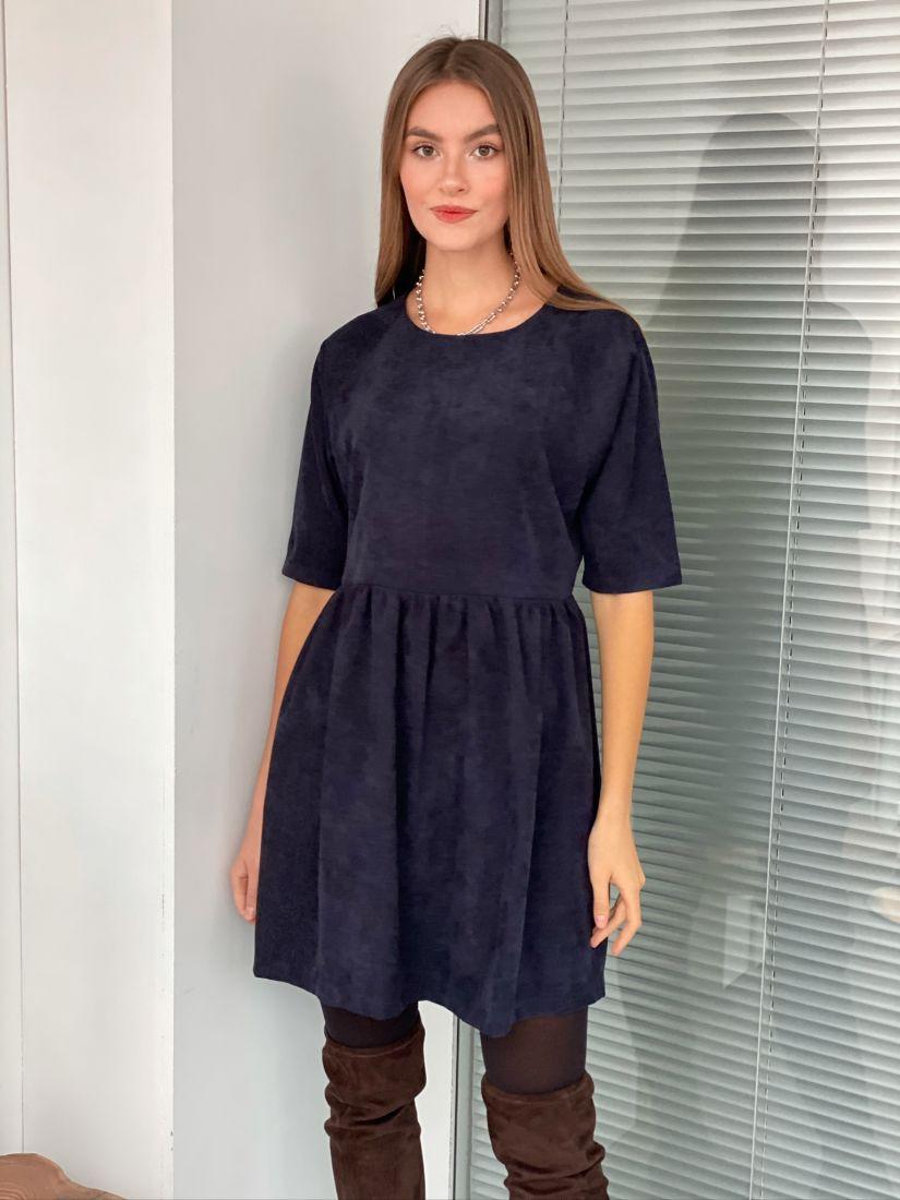s3089 Платье вельветовое чёрно-синее