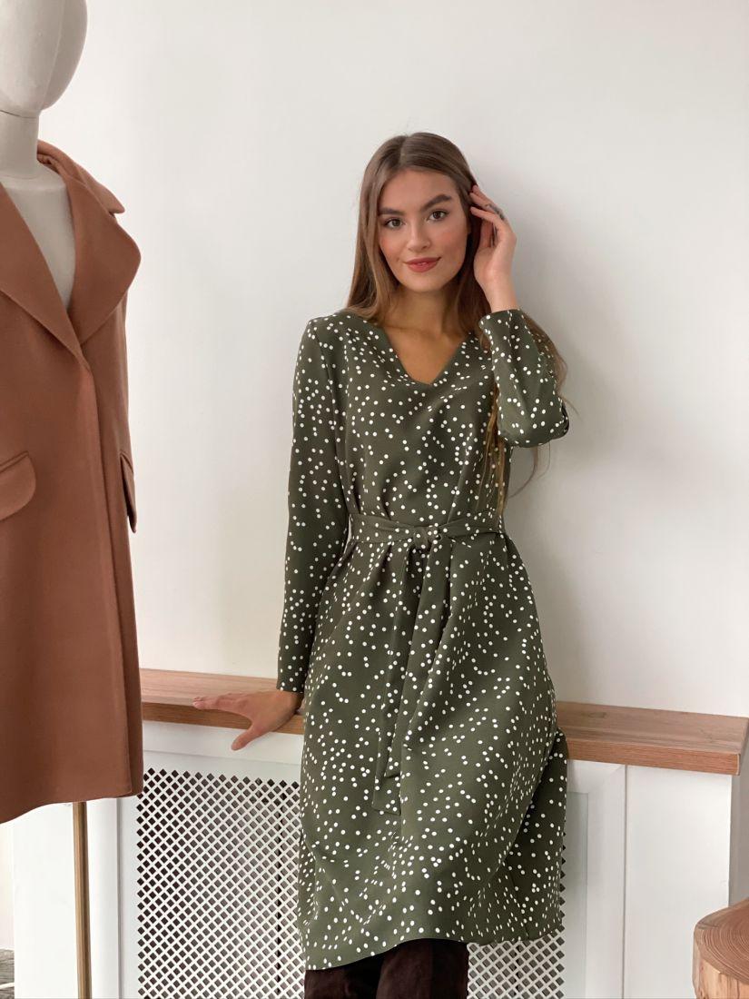 s3091 Платье хаки в горошек