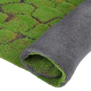 Мох искусственный, декоративный, полотно 1 ? 1 м, рельефный, камни, зелёный с щепой