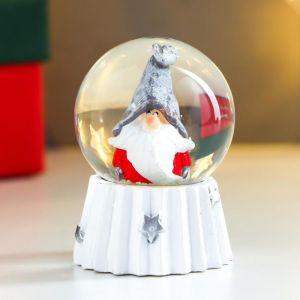 "Сувенир полистоун водяной шар ""Дед мороз в колпаке войлочном"" d=4,5 см 6х4,5х4,5 см   4838663"