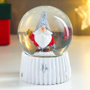"""Сувенир полистоун водяной шар """"Дед мороз в колпаке, с звёздочкой"""" d=6,5 см 8х6,5х6,5 см   4838665"""