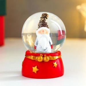 """Сувенир полистоун водяной шар """"Дед мороз в шапке-шишке"""" d=4,5 см 6х4,5х4,5 см   4838660"""