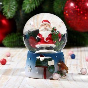 """Сувенир полистоун водяной шар """"Дед Мороз с воробушком"""" 6,5х4,5х4,5 см 2005330"""