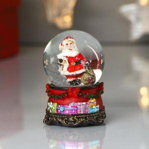 "Сувенир полистоун водяной шар ""Дед Мороз со списком подарков"" d=4,5 см 6,5х4,5х4,5 см   4822295"
