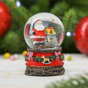 "Сувенир полистоун водяной шар ""Дедушка мороз и мешок подарков"" 7х4,5х4,5 см  3244422"