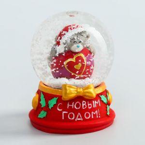 """Сувенир полистоун водяной шар """"Медвежонок Me to you на шарике - С Новым годом!"""" 4,5х6 см   4518178"""