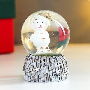 """Сувенир полистоун водяной шар """"Медвежонок в новогоднем колпаке"""" d=4,5 см 6х4,5х4,5 см   4838659"""