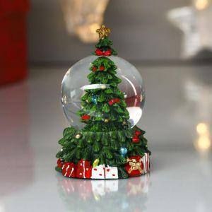 """Сувенир полистоун водяной шар """"Нарядная ёлочка с подарками"""" d=4,5 см 8х5х5 см   4822162"""