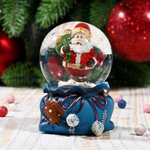 """Сувенир водяной шар """"Дед Мороз с мешком подарков"""" синий"""