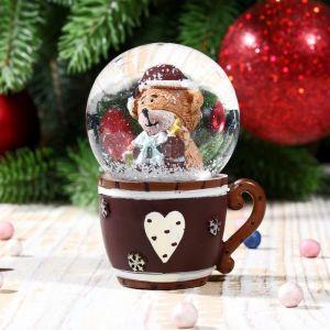 """Сувенир водяной шар в форме чашки """"Медвежонок в колпаке"""""""