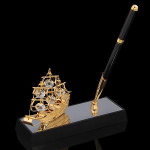 Ручка на подставке «Парусник», 16,5?6?20 см, с кристаллами Сваровски 1037341