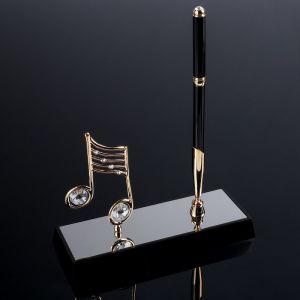 "Сувенир Ручка на подставке ""Нота"", с 2-мя прозрачными хрусталиками  16х6х20 см   4763371"
