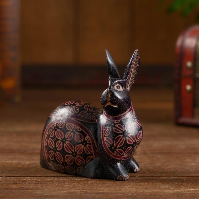 """Интерьерный сувенир """"Расписной кролик"""" дерево, батик 10 см   5013476"""