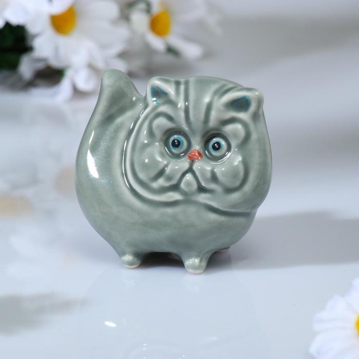 "Сувенир ""Кот перс"", 7,5х8см, гжель, цвет серый 5406076"