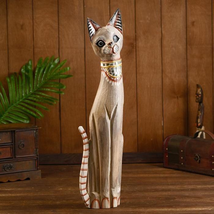 """Сувенир дерево """"Кошка в зеркальном галстуке"""" 60х15х5 см 2028080"""