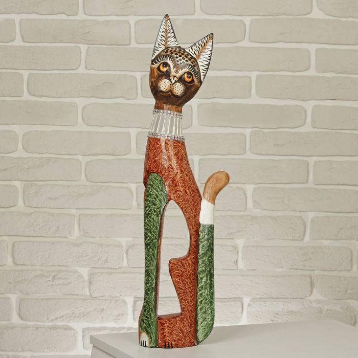 """Сувенир дерево """"Кошка в зеркальном ошейнике"""" 60х12х6 см 2028142"""