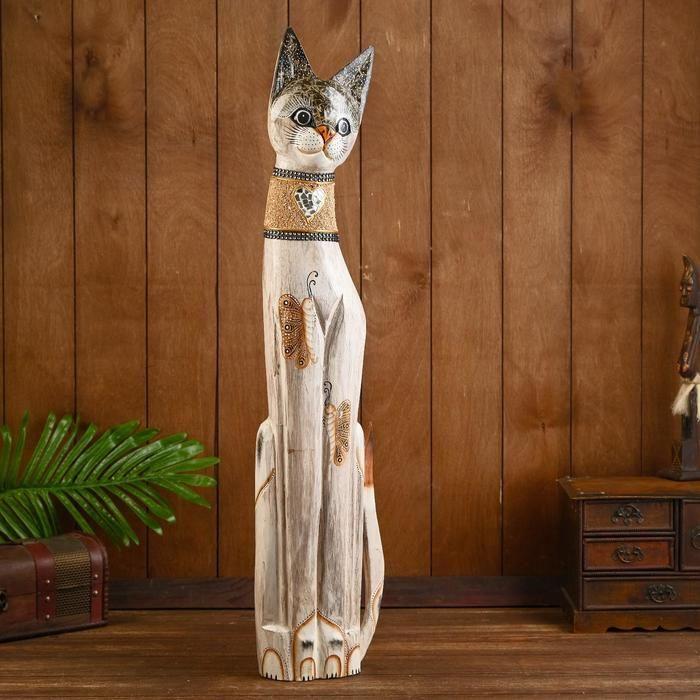 """Сувенир дерево """"Кошка с бабочками и зеркальным сердцем"""" 80х13х7 см 2028162"""