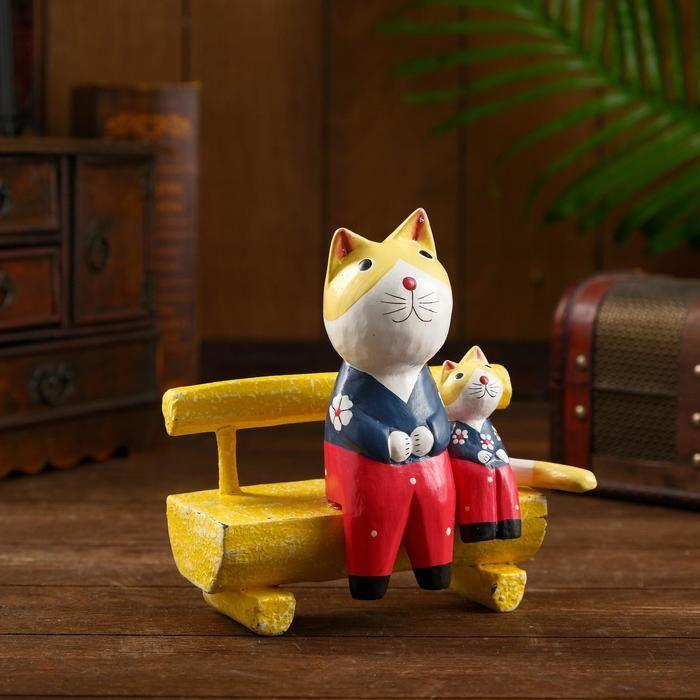 """Сувенир из дерева """"Кошки на скамье"""" 16х9х16 см   5013688"""