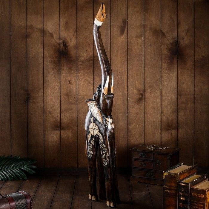"""Сувенир дерево """"Слон с цветком на спине"""" 100х17х9 см 2028212"""