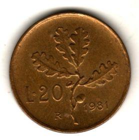 Италия 20 лир 1981