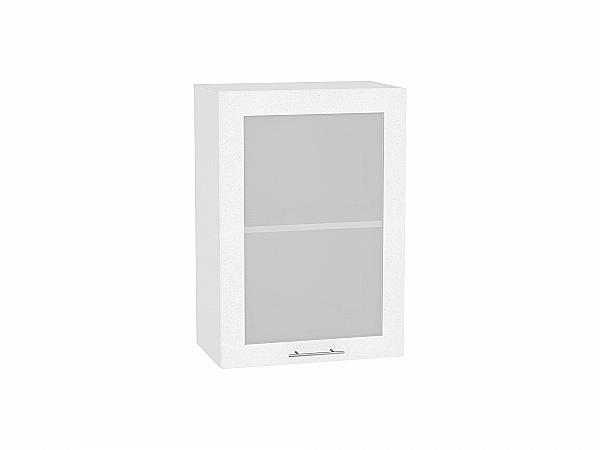 Шкаф верхний Валерия В500 со стеклом (белый металлик)