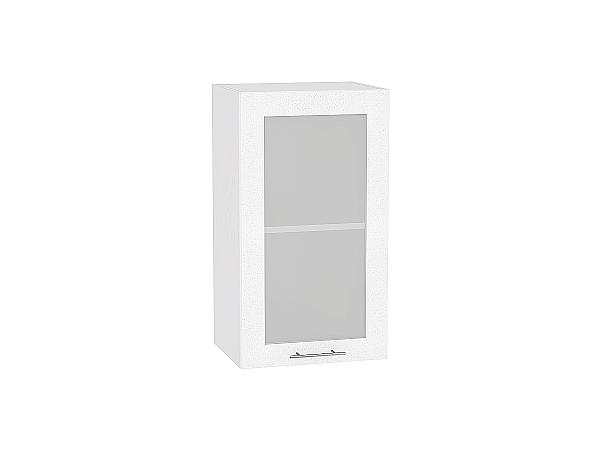 Шкаф верхний Валерия В409 со стеклом (белый металлик)