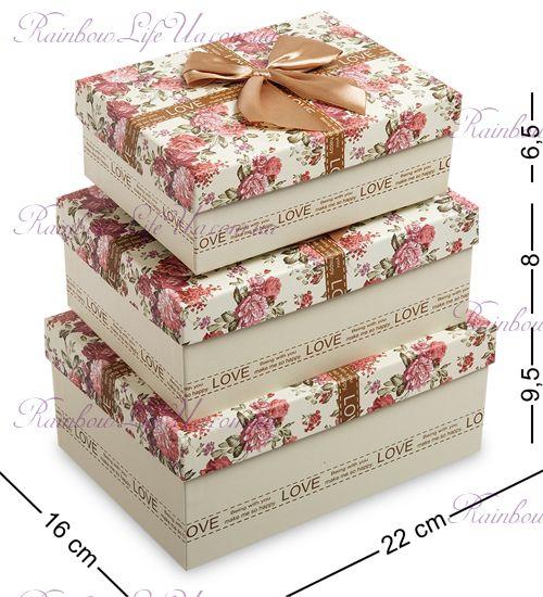 """Набор подарочных коробок 3 шт """"Цветочки"""""""